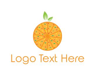 Green And Orange - Orange Pizza logo design