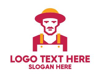 Farmer - Hipster Organic Farmer logo design