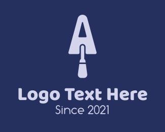 Dig - Purple Letter A Trowel logo design