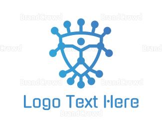 Hacker - Abstract Tech Shield logo design