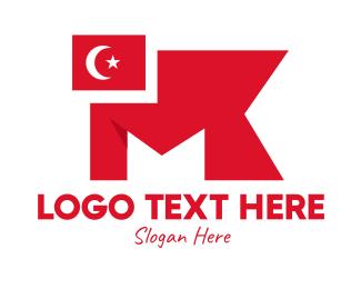 European - Turkey Flag Monogram  logo design