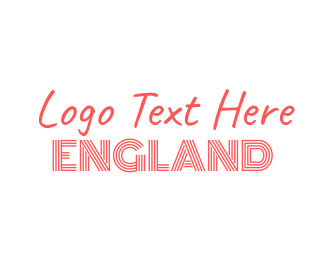 British - Red & White England Font Text Wordmark logo design
