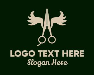 Trim - Abstract Antler Scissors logo design