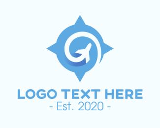 Aviation - Blue Aviation Compass logo design