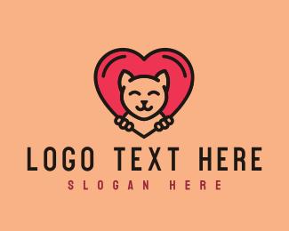 Domestic - Pet Cat Heart  logo design
