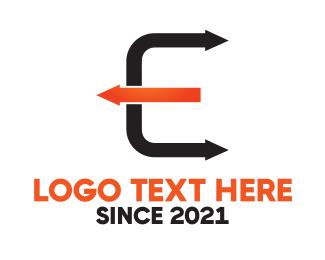 Transfer - Arrow Letter E logo design