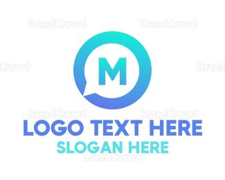 Messenger - Blue Media Chat Lettermark logo design