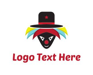 Crazy - Hat Clown  logo design