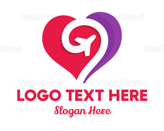 Travel Agent - Honeymoon Heart Plane logo design