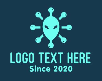 Alien - Alien Head Virus logo design