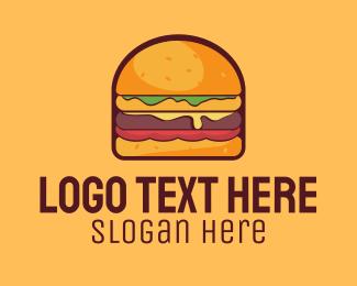 Delicious - Cheeseburger Burger logo design