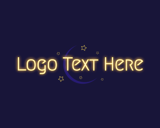 Sleepy - Glowing Text Moon Wordmark logo design