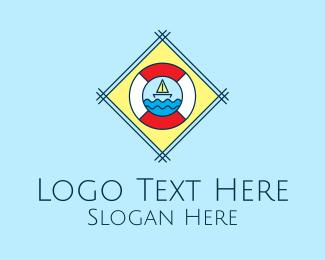 Lifeguard - Sail Boat Lifebuoy logo design