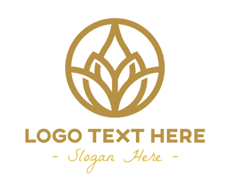 Retreat - Gold Lotus Flower Outline logo design