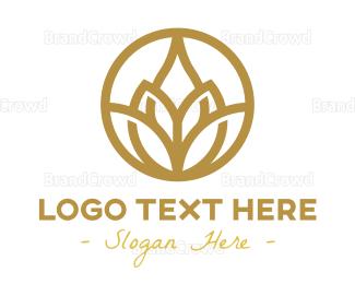 Pure - Gold Lotus Flower Outline logo design