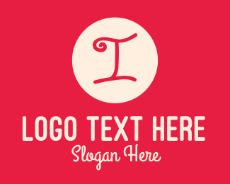 Letter I - Pink Handwritten Letter I logo design