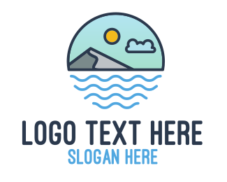 Surfing - Coastal Sea Mountain logo design