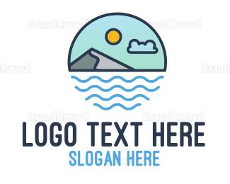 Mykonos - Sea Mountain Outline logo design