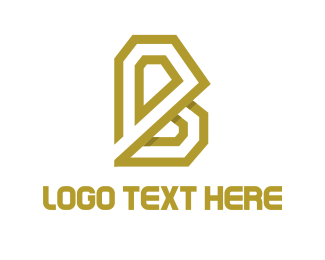 Exclamation Mark - Golden Letter B logo design