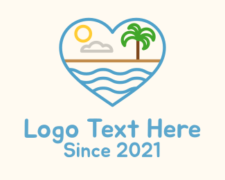 Summer Vacation - Minimalist Beach Heart logo design