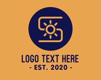 Electrician - Sun Solar Power Letter S logo design