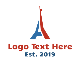 French - Blue Red Tower logo design
