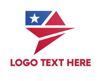 Politician - Flag Plane logo design