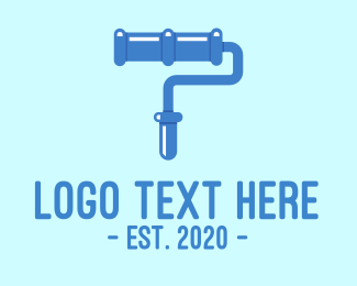 Pipeline - Blue Paint Roller logo design