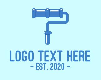 Paint Shop - Blue Paint Roller logo design
