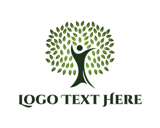 Human Tree - Green Human Oak logo design