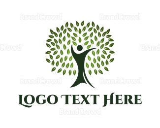 Human Tree - Green Human Oak logo design