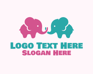 Baby Products - Cute Baby Elephants logo design