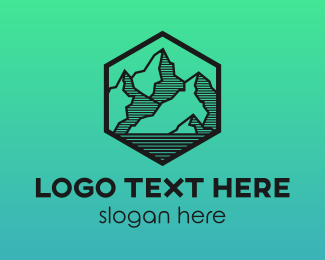 Camping - Hexagon Mountain Peak logo design