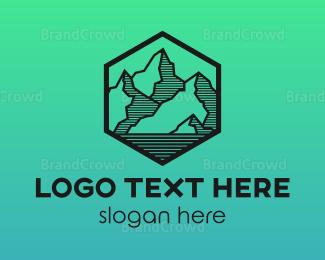 Ambition - Hexagon Mountain Peak logo design