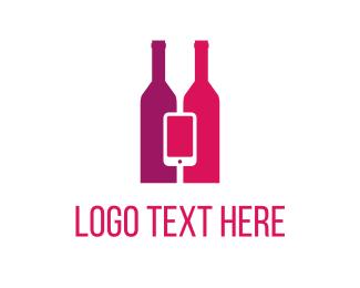 Bottle - Wine & Mobile logo design