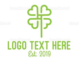Irish - Green Outline Cloverleaf logo design