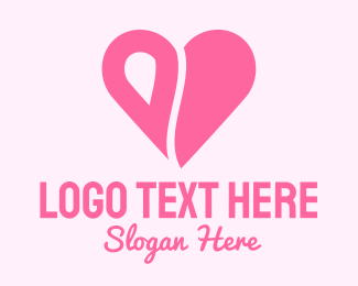Loving - Pink Minimalist Heart logo design