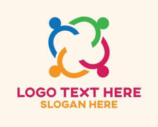 Link - Multicolor Community Heads logo design
