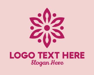 Massage - Pink Flower Spa Massage logo design