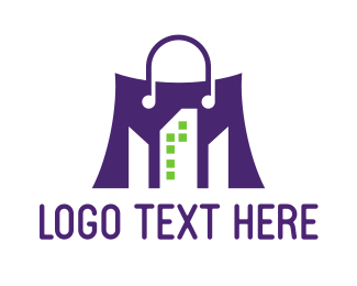 Shopping - Violet Shopping Bag logo design