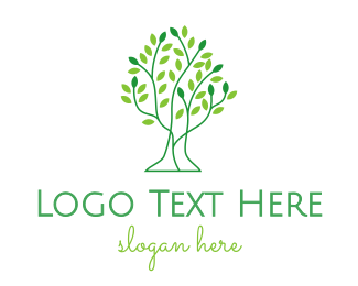 Outline - Leaf Tree Outline logo design