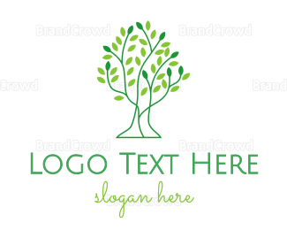 Gardening - Leaf Tree Outline logo design