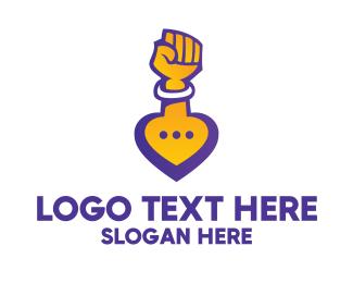 Arm - Raised Fist Speech Bubble logo design