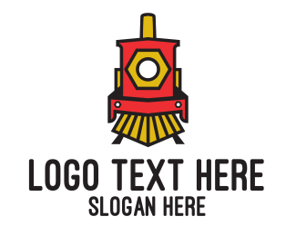 Rail - Red Locomotive Train logo design