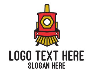 Train - Red Locomotive Train logo design
