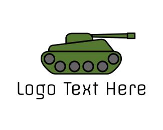War - Green War Tank  logo design