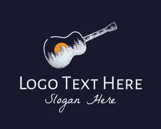 Gig - Acoustic Guitar Sunset  logo design