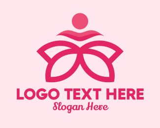 Massage Therapy - Pink Flower Spa  logo design