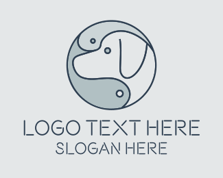 Dog Head - Yin Yang Fish Dog  logo design