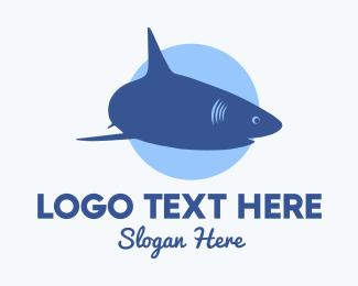 Swimming - Swimming Blue Shark logo design